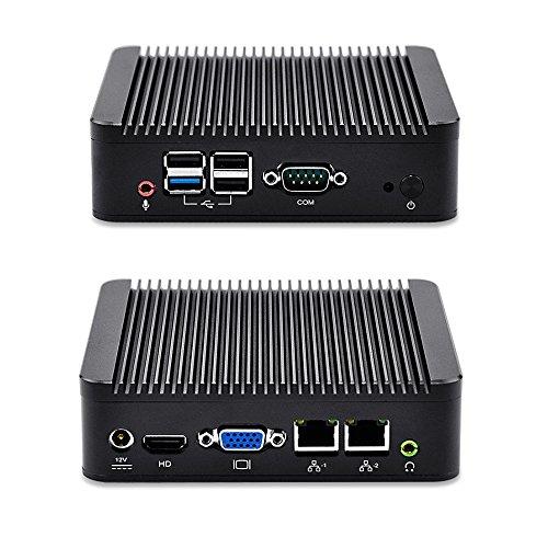 Mini PC Linux Ubuntu Computer QOTOM-Q190S Dual Gigabit Ethernet 8G Ram 128G mSata SSD 300M WiFi Quad Core J1900 CPU