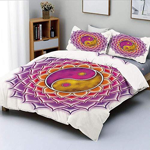 Juego de funda nórdica, Yin Yang Lotus Mandala en tonos vivos Energía espiritual asiática Estampado hippie decorativo Juego de ropa de cama de 3 piezas con 2 fundas de almohada, Fucsia Naranja