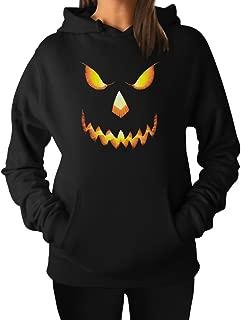 Halloween Pumpkin Scary Jack O Lantern Novelty Pullover Hoodie Sweatshirt Women