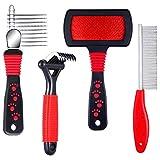 4 Pieces Pet Rake Comb Dog Dematting Comb Pet Slicker Brush Dog Steel Comb Pet Grooming Tool Dog Brush and Cat Brush