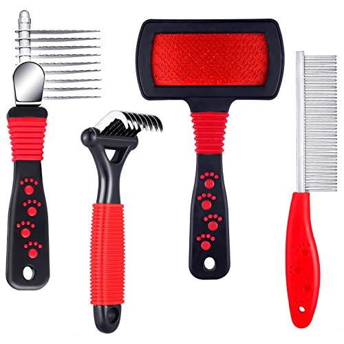 4 Pieces Pet Rake Comb Dog Dematting Comb Pet Slicker Brush Dog Steel...
