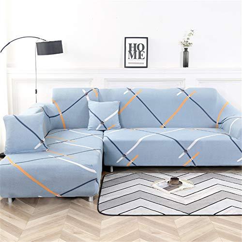 Hiseng Funda Elástica de Sofá Universal Chaise Longue Fundas Protectora para Sofa contra Polvo en Forma de L 2 Piezas Extraíbles y Lavables Cubre Proteger (H,2 Asientos + 3 Asientos)