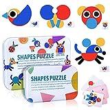 Tangram Madera Niños, Montessori Puzzle Madera, 36Pcs Rompecabezas Formas Geometricas Bloques 60Pcs Diseño Tarjetas de Apilamiento Animales Juegos y Juguetes Educativos Clasificación de la Infancia