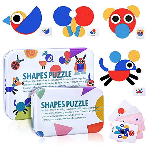 Tangram Puzzle di Legno, Montessori Giocattolo Blocchi Giochi per Bambini Animali 36 Puzzle Forme Geometriche + 60 Carte di Design Giochi Giocattoli Educativo Rompicapo Regalo per Bambina Bimbo