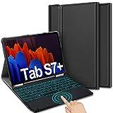 ELTD Beleuchtete Tastatur Hülle für Samsung Galaxy Tab S7+ (Deutsches QWERTZ), PU Schutzhülle mit Abnehmbarer Tastatur für Samsung Galaxy Tab S7 Plus 2020 12,4 Zoll 2020 (SM-T970/T975/T976), Schwarz