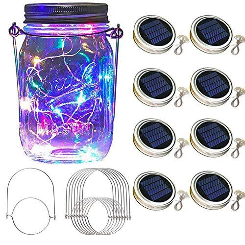 Solar Mason Jar Lid Lights 8 Pack 30 Led Solar...