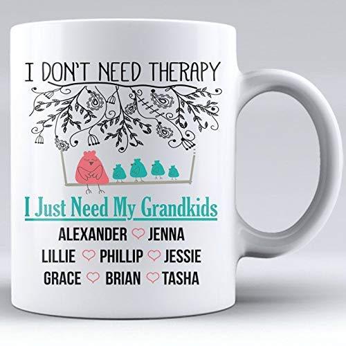 N\A No Necesito Terapia, Solo Necesito a mis Nietos, Taza Personalizada, Taza de cerámica Blanca, cumpleaños de la Abuela, mamá, Terapia