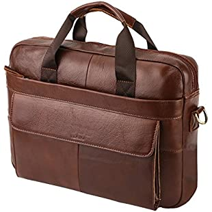leather Briefcase,VIDENG Geunine Leather 14 Inch Laptop Bag with Strap,Business Shoulder Bag Handle Bag Tablet Briefcase for Computer/Notebook/Tablet under 15.6 Inch for Men/Women (Coffee Brown-VCP):Porcelanatoliquido3d