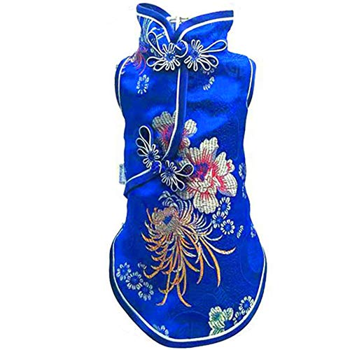 Yu-Xiang Pet Costume Tang Suit Dog Cheongsam Satin Clothes Chinese Style Clothing for Dogs Pet Skirt Puppy Cats Dress Dog Vest Tshirt (XXS, Blue)