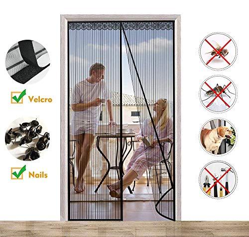 CHENG Tür Magnet Fliegengitt 90x215cm, Fenster Magnet Fliegenvorhang Anti-Mosquito Insekt Hände frei Türen/Patio/Windows, Schwarz