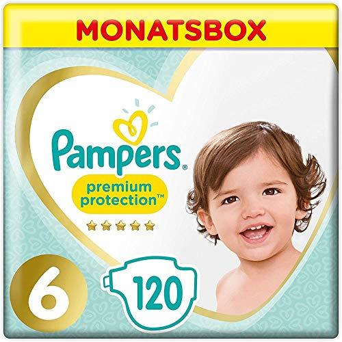 Pampers Größe 6 Premium Protection Baby Windeln, 120 Stück, MONATSBOX, Weichster Komfort Und Schutz (13-18kg)
