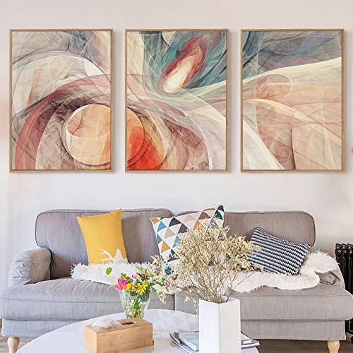 N / A Lienzo Pintura Arte Poster 3 Piezas Poesía Geométrica Abstracta Patrón Decoración Lienzo Pintura Arte Impresión Poster Cuadro Cuadro Cuadro Decoración Decoración Para el Hogar