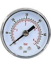 Manómetro mecánico, manómetro axial BSPT de 1/8 pulg. Para aire, aceite y agua(0-60psi,0-4bar)