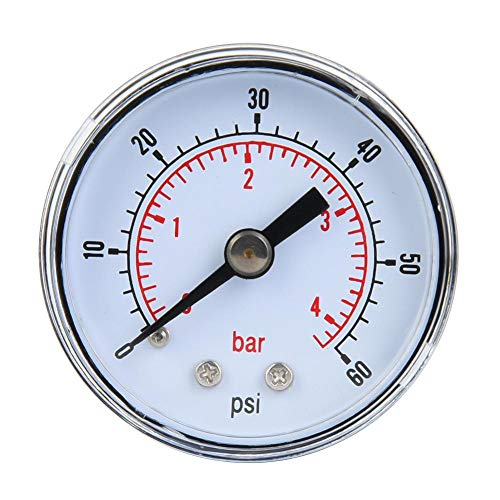 Mechanisches Manometer, 1/8 Zoll BSPT Axialmanometer für Luft, Öl und Wasser(0-60psi,0-4bar)