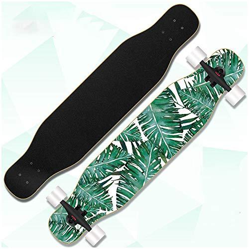 HUADUO Longboard Skateboard Cruiser Komplettbrett, 42-Zoll-Ahornbrett mit ABEC-11 Hochgeschwindigkeitslagern, geeignet für Anfänger, Jungen und Mädchen, professionelle Tanzbretter-Grünes Blatt