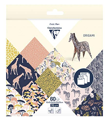 Clairefontaine – 1 funda origami 60 hojas 10 x 10 cm, 15 x 15 cm y 20 x 20 cm, 70 g, varios diseños, color Safari