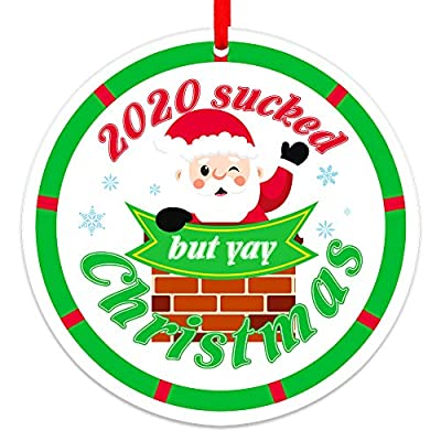 """FaCraft Christmas Ornaments 2020,3"""" Green Funny Christmas Ornament, Sucked But Yay Christmas Ornament Keepsake for Christmas Tree Decorations Quarantine Gift for Family Friends"""