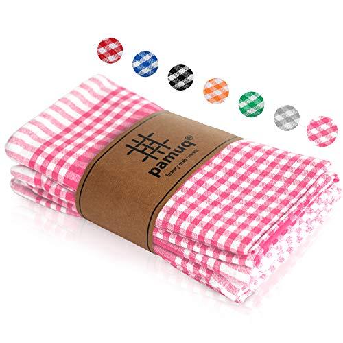pamuq® Paños de cocina de algodón de alta calidad – 100 %   Juego de 5   45 x 65 cm + colgador   aspecto vintage a cuadros   Trapos de cocina de algodón de limpieza (rosa)