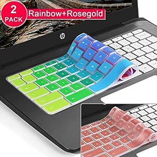 [2Pcs]keyboard cover skin for hp chromebook 14,hp 14 inch Touch-Screen Chromebook keyboard cover,hp Chromebook 14-ak,14-ca Series,hp Chromebook 14 G2 G3 G4 G5 Series(Rainbow+Rosegold)