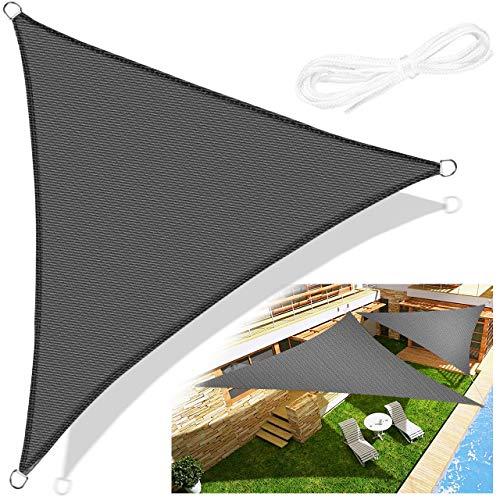 Emooqi Tenda a Vela Triangolare, Parasole Triangolare 3x3x3m, Vela Ombreggiante/Tende da Sole per Esterno, Protezione Raggi UV, HDPE Tende a Vela per Terrazzo Balcone Giardino Piscina -Grigio Scuro
