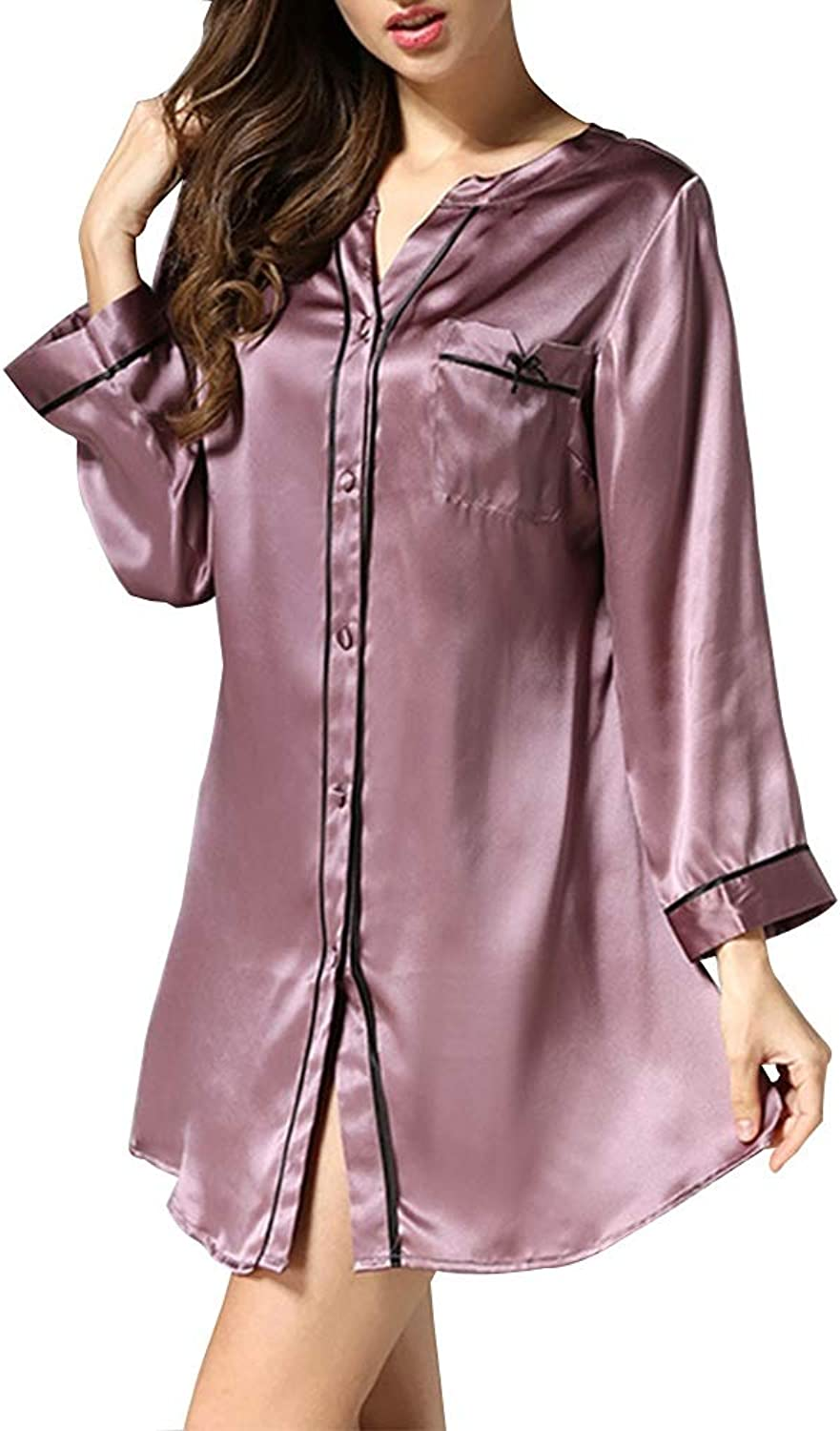 Pajamas Summer Ladies Sexy ShirtStyle Nightdress 100% Silk Fabric Casual Home Clothing (color   Purple, Size   XL)