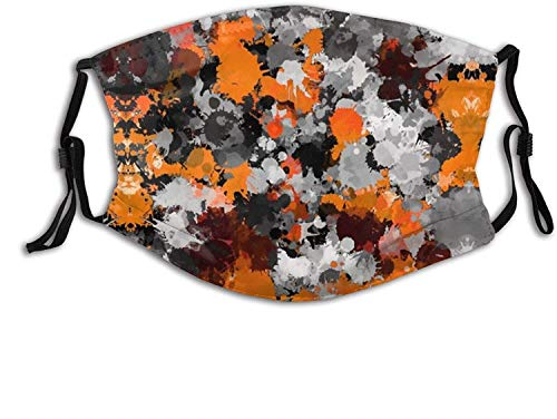 Unisex Face Mask Adjustable Orange and Grey Paint Splatter Masks Replaceable Filter Balaclavas