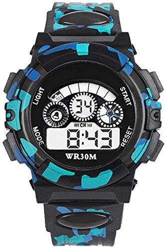 Reloj digital electrónico para niños, diseño de camuflaje y analógico, resistente al agua, con reloj despertador, cronógrafo, calendario, multifuncional, deportivo, 4