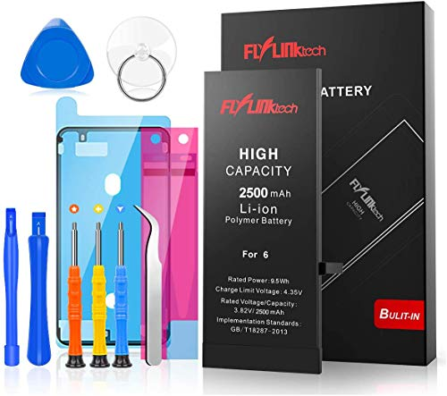 FLYLINKTECH for iPhone 6 Battery, 2500mAh High Capacity Li-ion Polymer with All Repair Replacement Kit Tools-Included 24 Months Assurance