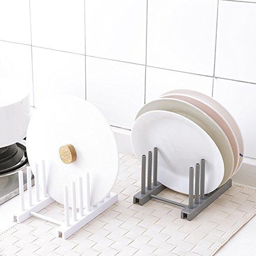 UxradG - Soporte de secado de platos, plástico ABS de alta calidad, multifuncional, para platos, vajillas, organizador, soporte para tapa de olla, accesorios de cocina Tamaño libre blanco