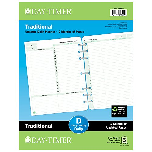 Day-Timer 2 Months/2 Pages Per Day, Undated Refill, 8-1/2'x11'