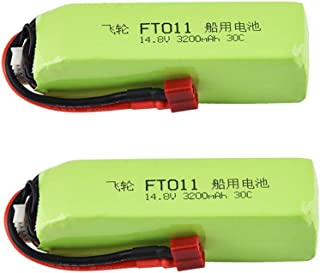 Elaco 2PCS Upgrade Boat 14.8V 3200mAH Battery Part Compatible with Feilun FT010 Ft011 RC Boat