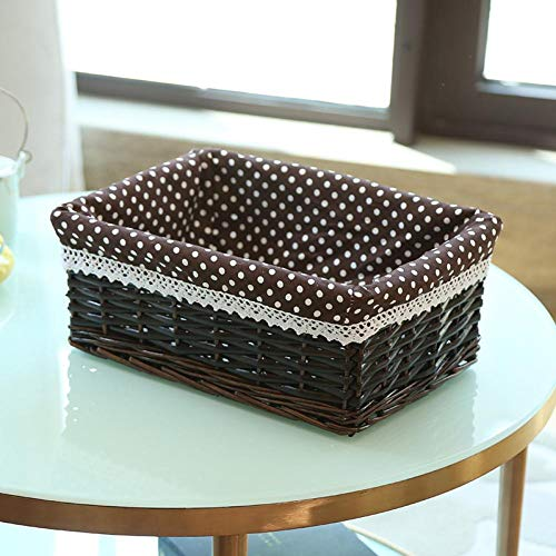 Caja De Almacenaje Acabado Artículos Para El Hogar Cesta De Almacenamiento De Sauce Cesta De Exhibición De Supermercado Cesta De Almacenamiento De Mimbre Tejida A Mano Exquisita Simple Y Duradera