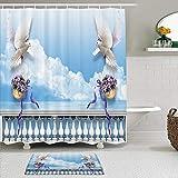 Juego de cortinas y tapetes de ducha de tela,Paloma de la paz Paloma con canasta de flores Mármol Balcón Océano Azul c,cortinas de baño repelentes al agua con 12 ganchos, alfombras antideslizantes