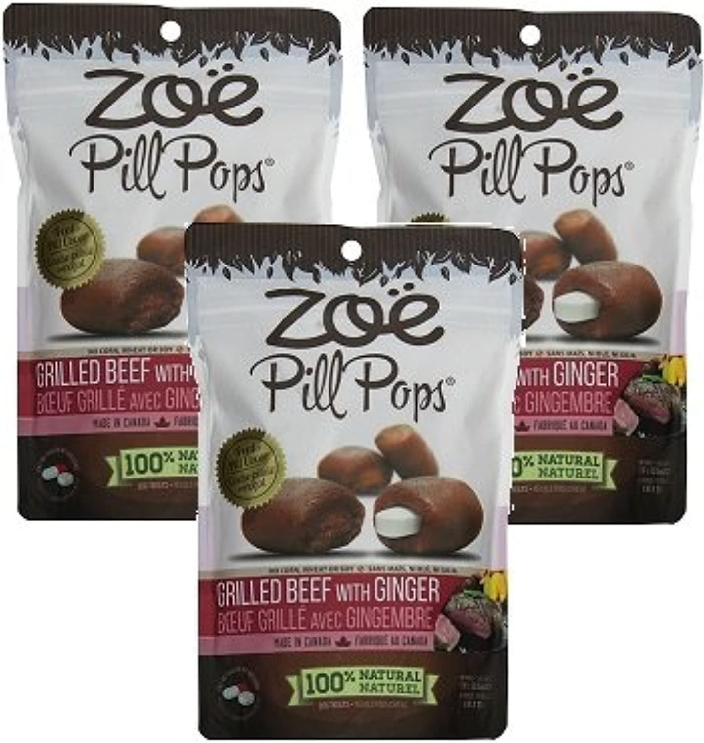 (3 Pack) Zoe Pill Pops Grilled Beef with Ginger  3.5 Ounces Each