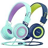 Mpow Auriculares para niños (Paquete de 2) con limitador de Volumen de 91dB y protección auditiva, Peso liviano Cómodos Auriculares para Colocar en la Oreja