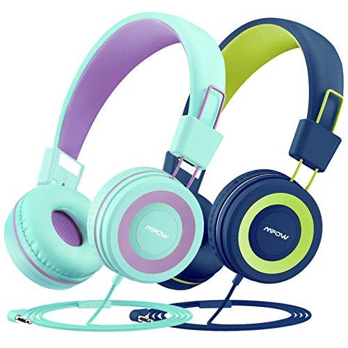 Mpow CH8 Auriculares para niños (2 Pack), Divisor de Cable de Audio, Sonido estéreo, Límite de Volumen de 91 dB, Micrófono Incorporado, Ligero, Diadema y Orejeras Suaves, Cable de Nylon sin enredos