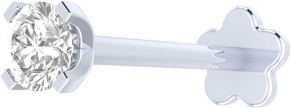 0.04 ct Real Diamond Nose Stud 14K White Gold Internally Threaded 8MM Long Screw Back HI Color