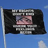 AOTADer Banderas al Aire Libre Mis Derechos no terminan Donde comienzan Tus Sentimientos Bandera para fanáticos del Deporte Fútbol Baloncesto Béisbol Hockey