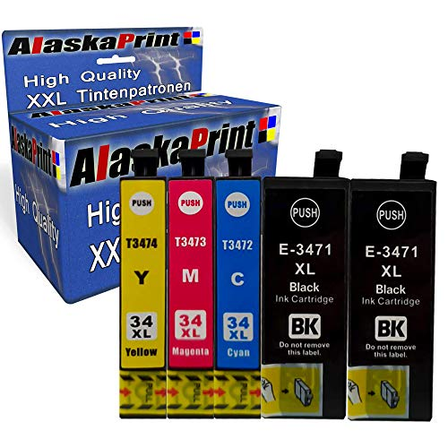 5X Druckerpatronen kompatibel für Epson 34 XL 34xl für Epson Workforce Pro WF-3720dwf WF-3725 WF-3725DWF WF-3720 Patronen Tintenpatronen Drucker