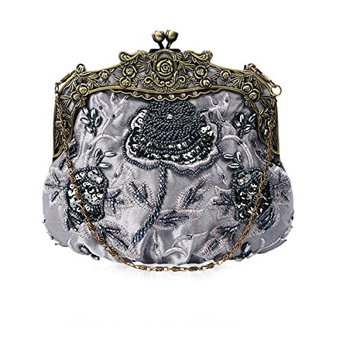Flada damas y mujeres Vintage lentejuelas bolso hecho a mano abalorios de noche de fiesta de boda de baile gris