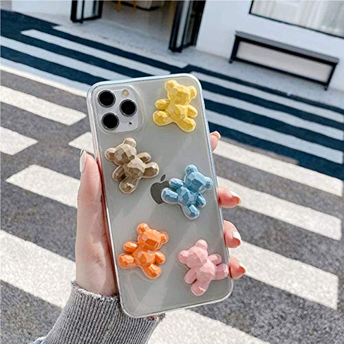 ZHANGMEI Case for iPhone 11 3D Color Bear Clear Phone Cover Cute Creative Design Soft TPU Silicone Shockproof Protective Case Transparent Dust proof Back Cover,iPhone 7/8