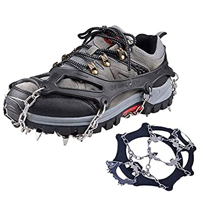 007plus Ice Traction Cleats Non-Slip Ice Snow Grips 18 Spikes Provide Excellent Traction Ice and Snow Never Worry About Fall & Slip, Also for Jogging, Climbing (Black, XL (10-11.5 Wmen / 9-10.5 Men))