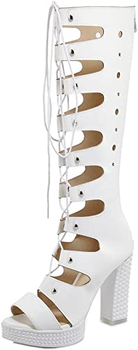 Easemax Femme Mode Bout Ouvert Fermeture Eclair Bottes Bottes Sandales  prix bas discount