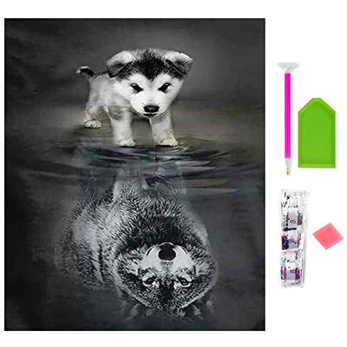 Rayber Kit de pintura de diamante 5D con diseño de perro y perro, para niños y adultos, juego de pintura de diamante 5D, para decoración de pared del hogar, oficina, decoración (30 x 40) (2 cachorros)