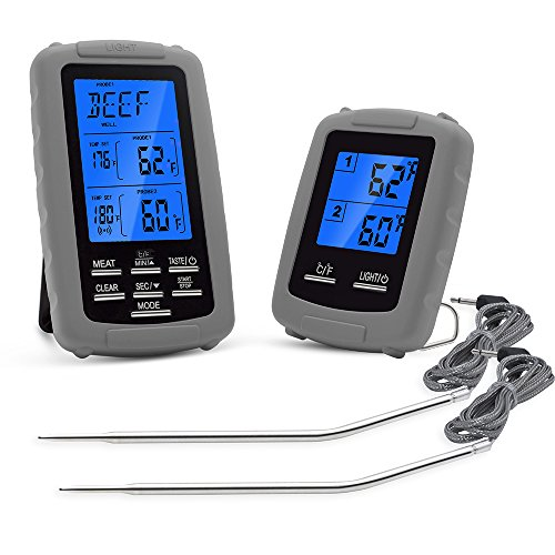 DollaTek Termómetro Digital inalámbrico para Carne, Unidad de medición de Temperatura de Alimentos y Receptor, con Control Remoto, Barbacoa, Parrilla, Cocina, horneado y más, Color Gris