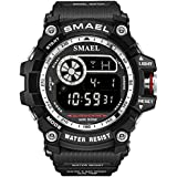 Mens Digital Sports Watches Multifunctional Large Military 50M Waterproof LED Alarm Backlight Watch (Silver)