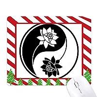 仏教の宗教は仏教の黒と白のパターン ゴムクリスマスキャンディマウスパッド