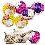 Katze Sisal Ball,6 pcs Sisal Seilball,Umweltfreundliche Kätzchen Bälle,Schaum Katze Ball,Kätzchen Spielzeug Bälle,Interaktiver Sisalball,Spielzeug Kätzchen Kugel Bälle (A)