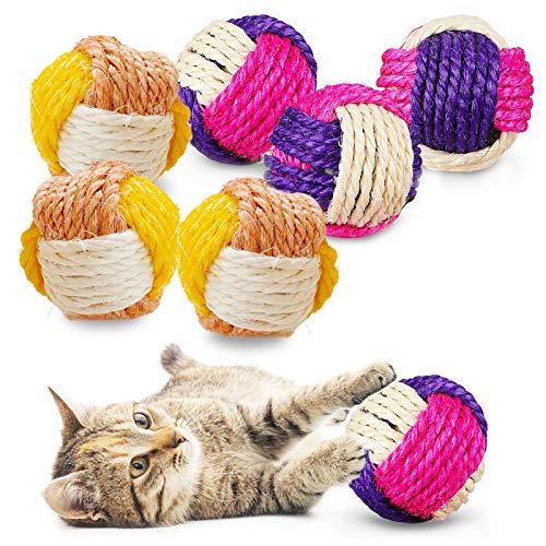 Katze Sisal Ball,6 pcs Sisal Seilball,Umweltfreundliche Kätzchen Bälle,Kätzchen Spielzeug Bälle,Interaktiver Sisalball,Spielzeug Kätzchen Kugel Bälle,Moosgummibälle,Katzenspielzeug Sisalball