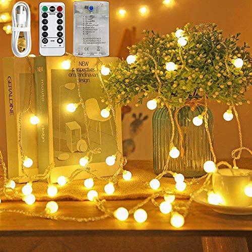 Globe Fairy String Lights - Guirnalda de luces de 100 ledes (100 ledes, 8 modos, impermeable, con mando a distancia y temporizador, para dormitorio, Navidad, boda, jardín, fiesta, decoración